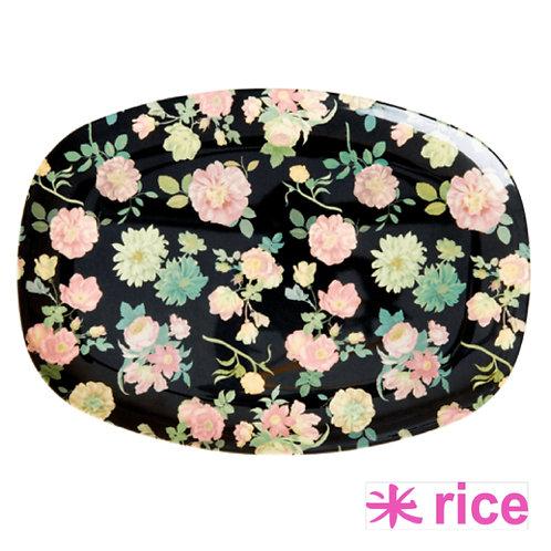 RICE  melamin rektangulær tallerken Dark rose print