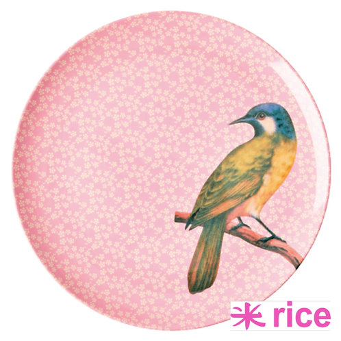 RICE melamin tallerken Vintage Bird Print - Pink  25 cm