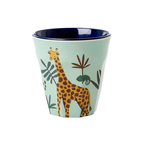 RICE melamin liten kopp - Blue Jungle Animal Print