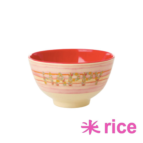 RICE small melamin skål Happy Pink Print