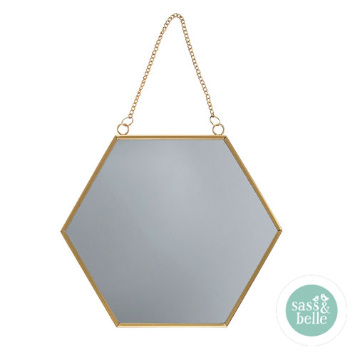 Sass & Belle gull hexagon speil