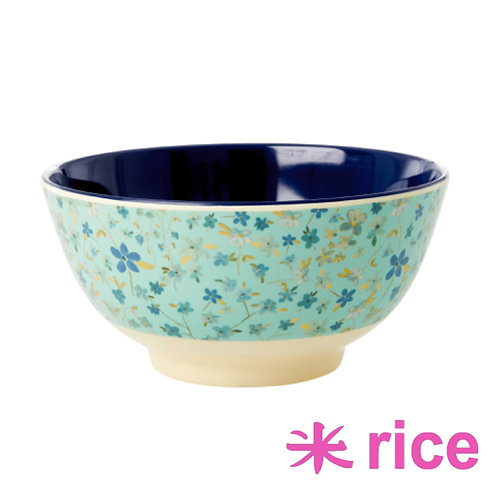 RICE medium melamin skål Blue Floral Print
