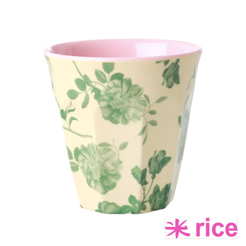 RICE medium melamin kopp - Green Rose print
