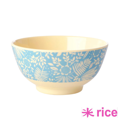 RICE medium melamin skål I blue fern print