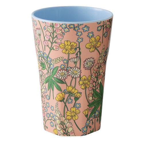 RICE melamin høy kopp coral lupin Print