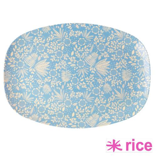 RICE  melamin rektangulær tallerken Blue Fern  print