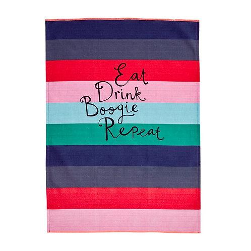 RICE kjøkkenhåndkle 'Believe in Red Lipstick' Stripes