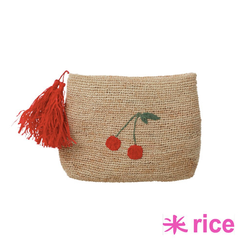 RICE raffia clutch cherry