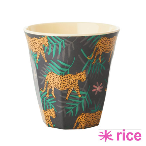 RICE medium melamin kopp -Leopard and Leaves Print
