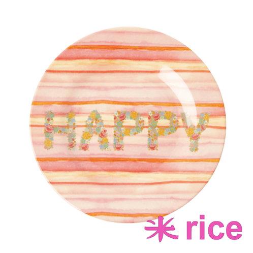 RICE  melamin tallerken Happy Pink Print 20 cm