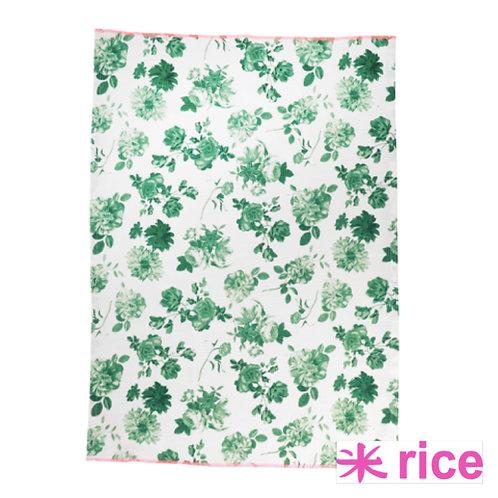 RICE kjøkkenhåndkle Green Rose Print