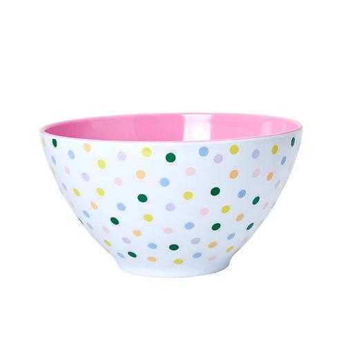RICE ekstra stor melamin salatbolle dots print