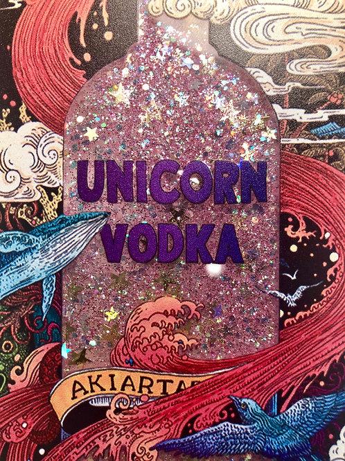 Unicorn Vodka deksel med flytende glitter