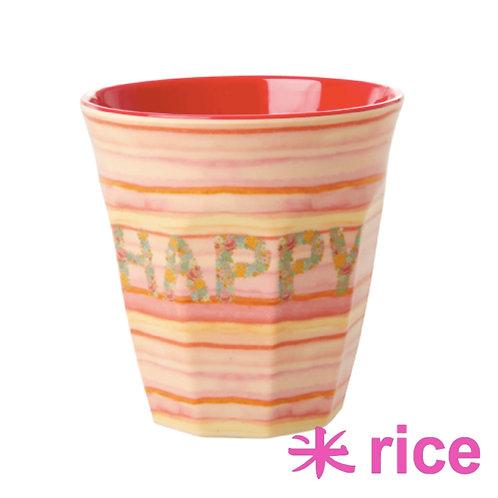 RICE medium melamin kopp - Happy Pink print