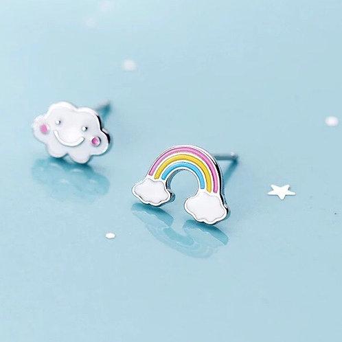 FRIENDS 925 sølv regnbue /sky øredobb