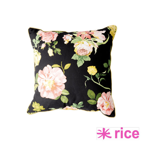 RICE bomulls pute dark rose print