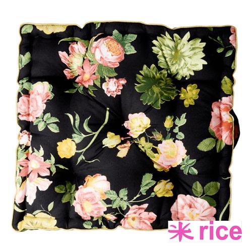 RICE bomull gulvpute dark rose print med gullkanter