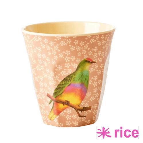 RICE medium melamin kopp - Vintage Bird Print - Nougat