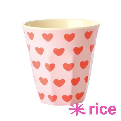 RICE medium melamin kopp - sweet heart  print