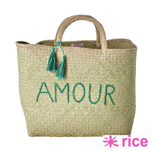 RICE Raffia Shopping Bag grønn 'AMOUR' XL