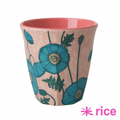RICE medium melamin kopp - Blue Poppy Printprint