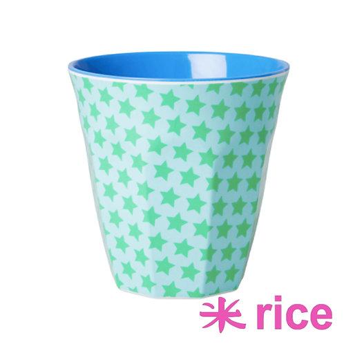 RICE medium melamin kopp - green stars print