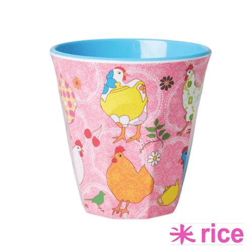 RICE medium melamine kopp rosa print