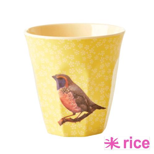 RICE medium melamin kopp gul bird print