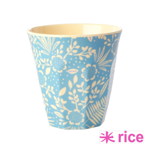 RICE medium melamin kopp - Blue Fern print