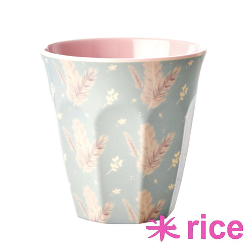 RICE medium melamin kopp - feather print