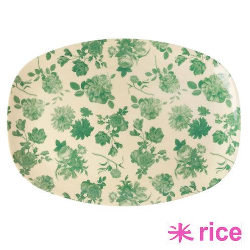 RICE  melamin rektangulær tallerken Green rose print