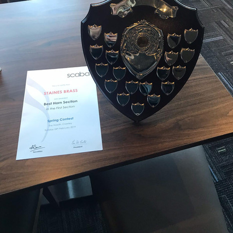 Staines Brass Best Horn section trophy 2 years in a row 2019 and 2020