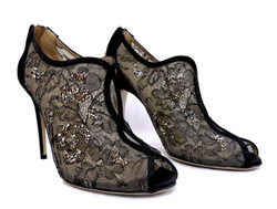 Valentino- Lace & Crystal Booties