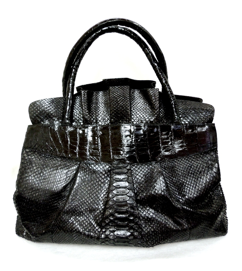 Nancy Gonzalez Ruffled Crocodile Bag