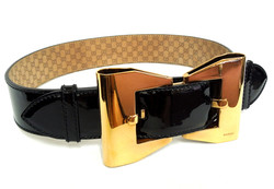 Gucci- Gold & Patent Bow Belt