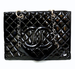 Chanel Patent Quilted Shopper