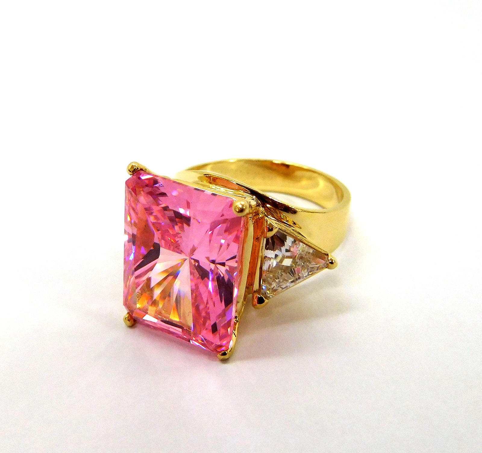 Pink CZ & 14kt Ring