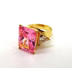 Pink CZ & 14kt Ring