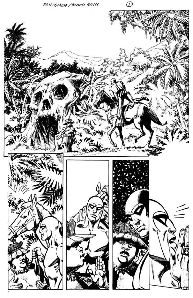 Preliminary work on the first page of the story, by Sal Velluto: