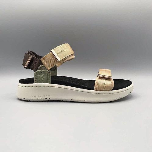 Woden – Sandale Line, beige multi