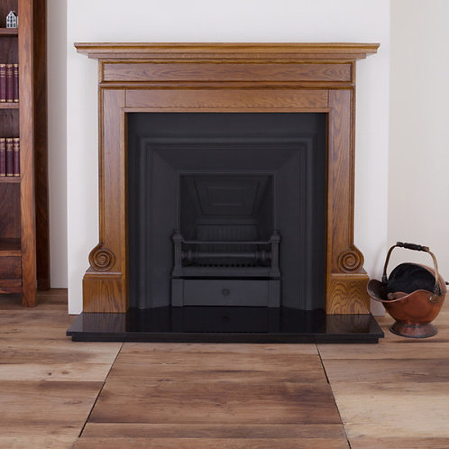 The Carron Volute Wooden Fireplace