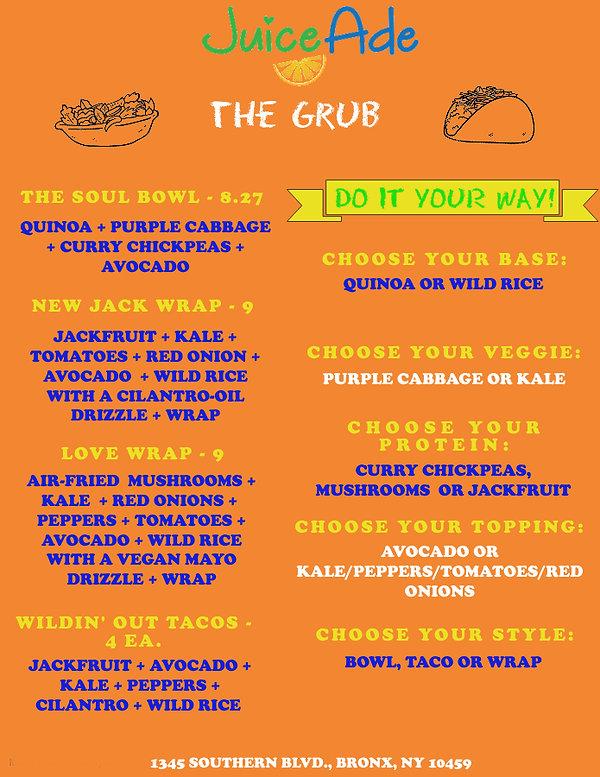 Juiceade Updated Food Menu - The Grub.jp