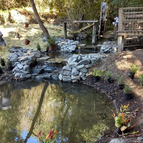 Creek restoration with waterwheel & waterfalls