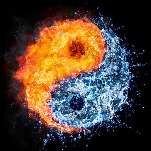 fire and water - yin yang concept - tao