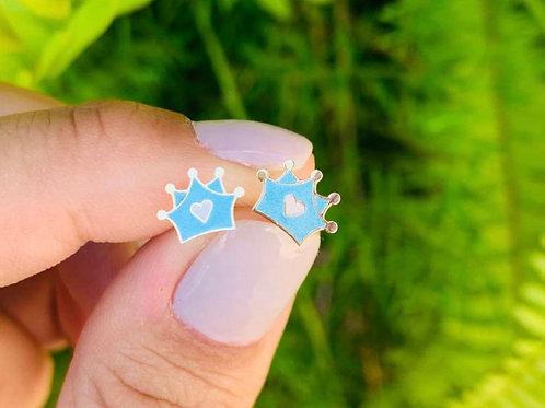 H1626 - Brinco Coroa Azul com Coração Infantil