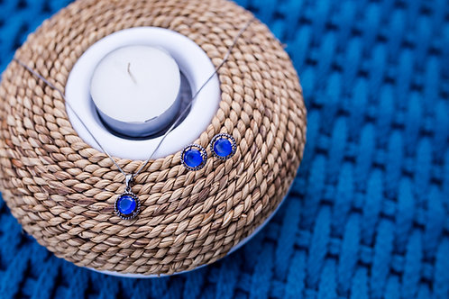 H1665 - Colar Pedra  Redonda Azul Marinho