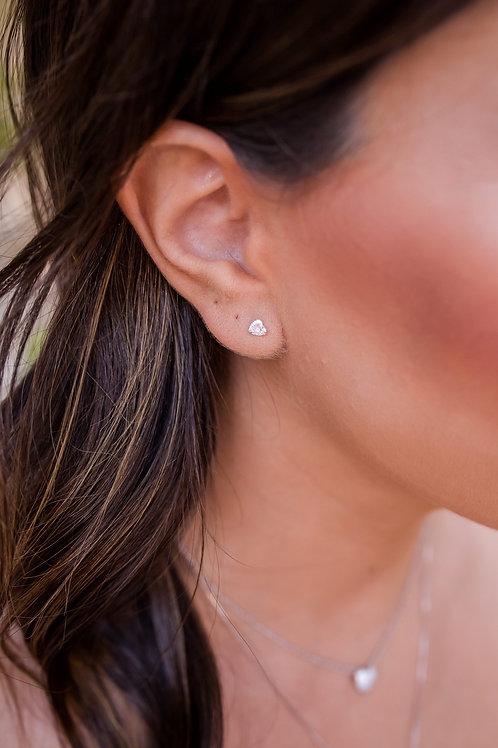 H2223 - Brinco Coração Pequeno Cristal Prata 925