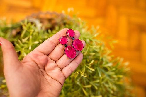 H2032 - Brinco Turmalina Rosa Quadrado e Gota 2em1