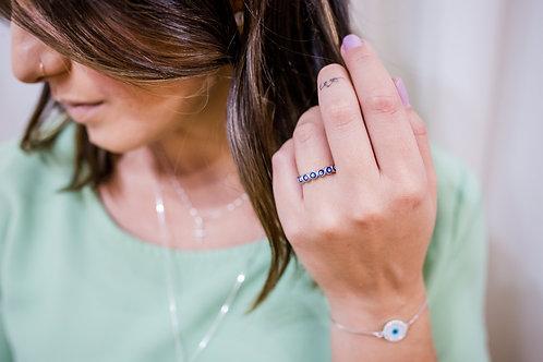 H2027 - Anel Bolinhas Olho Grego Azul Prata 925