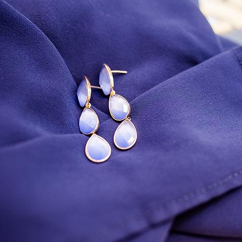 H1781 - Brinco 3 Gotas Cristal Azul Claro Perolado